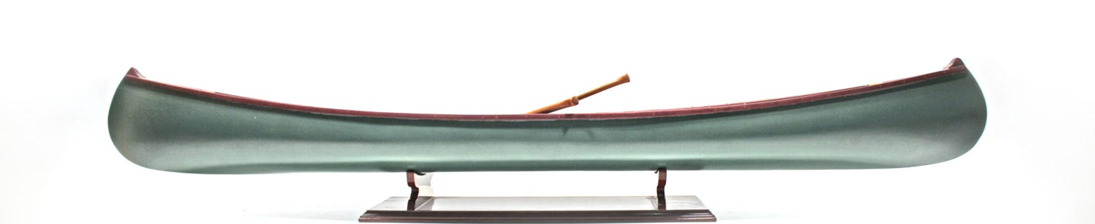 Modell eines  Holzkanus grüne Farbe 110cm länge handgefertigt aus Holz