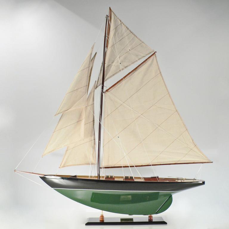 Handgefertigtes Segelschiffmodell der Pen Duick (Grün/Schwarz)